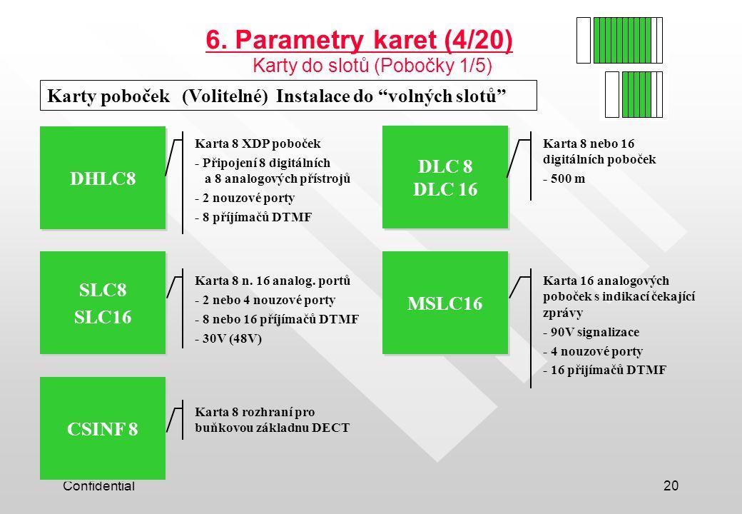 """Confidential20 Karty poboček (Volitelné) Instalace do """"volných slotů"""" DHLC8 SLC8 SLC16 SLC8 SLC16 MSLC16 CSINF 8 DLC 8 DLC 16 6. Parametry karet (4/20"""