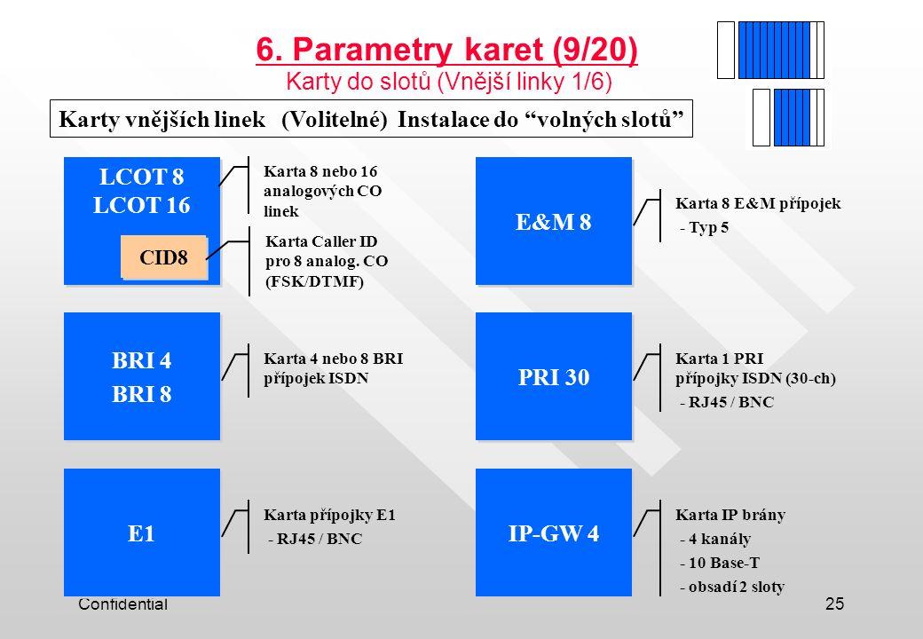 """Confidential25 Karty vnějších linek (Volitelné) Instalace do """"volných slotů"""" LCOT 8 LCOT 16 CID8 E&M 8 BRI 4 BRI 8 BRI 4 BRI 8 PRI 30 E1 IP-GW 4 6. Pa"""