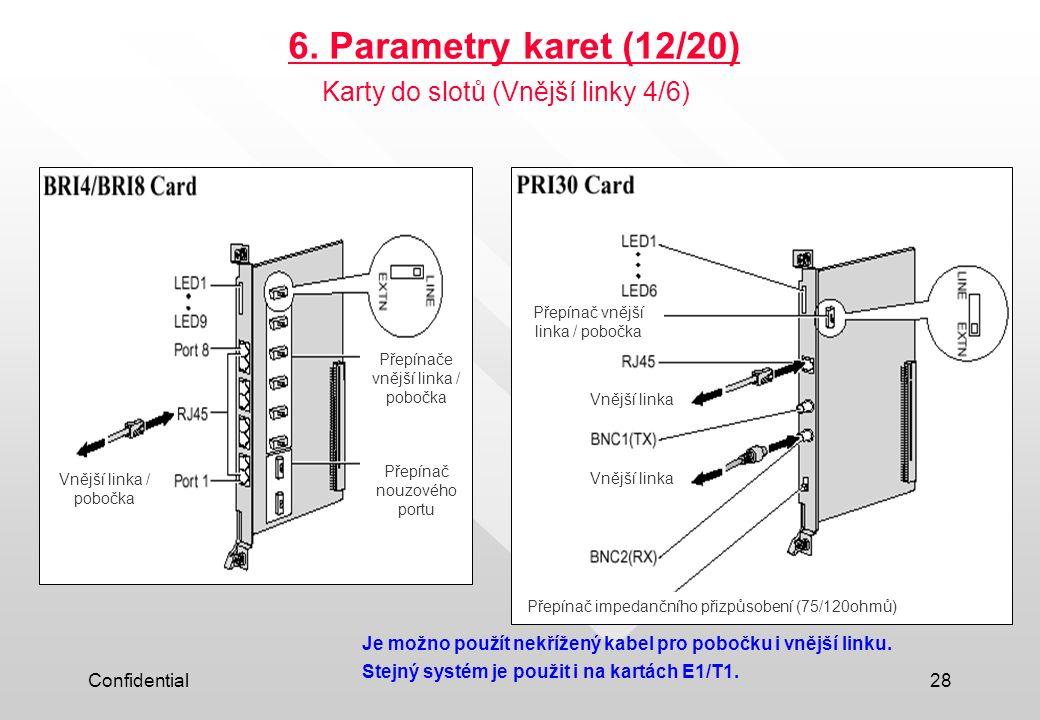 Confidential28 6. Parametry karet (12/20) Je možno použít nekřížený kabel pro pobočku i vnější linku. Stejný systém je použit i na kartách E1/T1. Kart