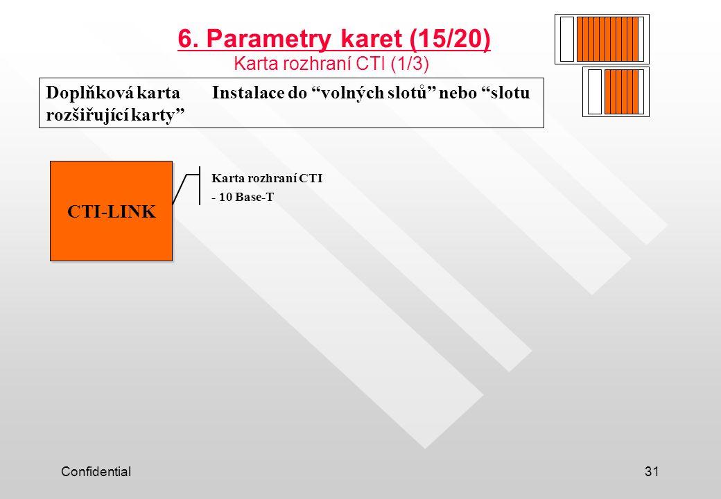 """Confidential31 Doplňková karta Instalace do """"volných slotů"""" nebo """"slotu rozšiřující karty"""" CTI-LINK 6. Parametry karet (15/20) Karta rozhraní CTI (1/3"""