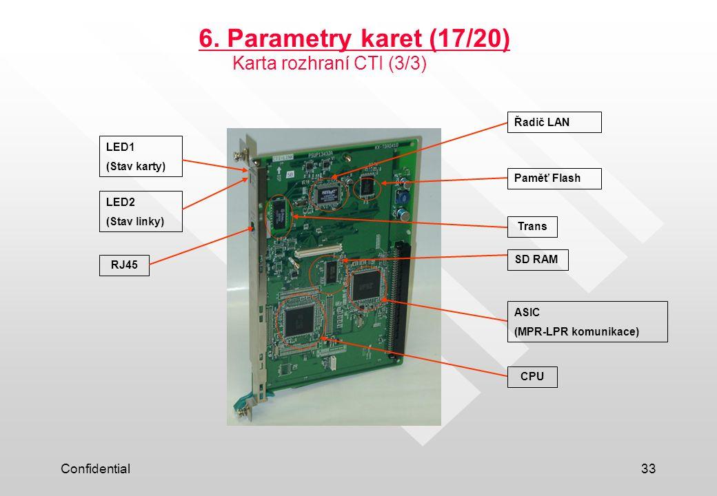 Confidential33 6. Parametry karet (17/20) LED1 (Stav karty) LED2 (Stav linky) RJ45 Paměť Flash Trans Řadič LAN SD RAM ASIC (MPR-LPR komunikace) CPU Ka