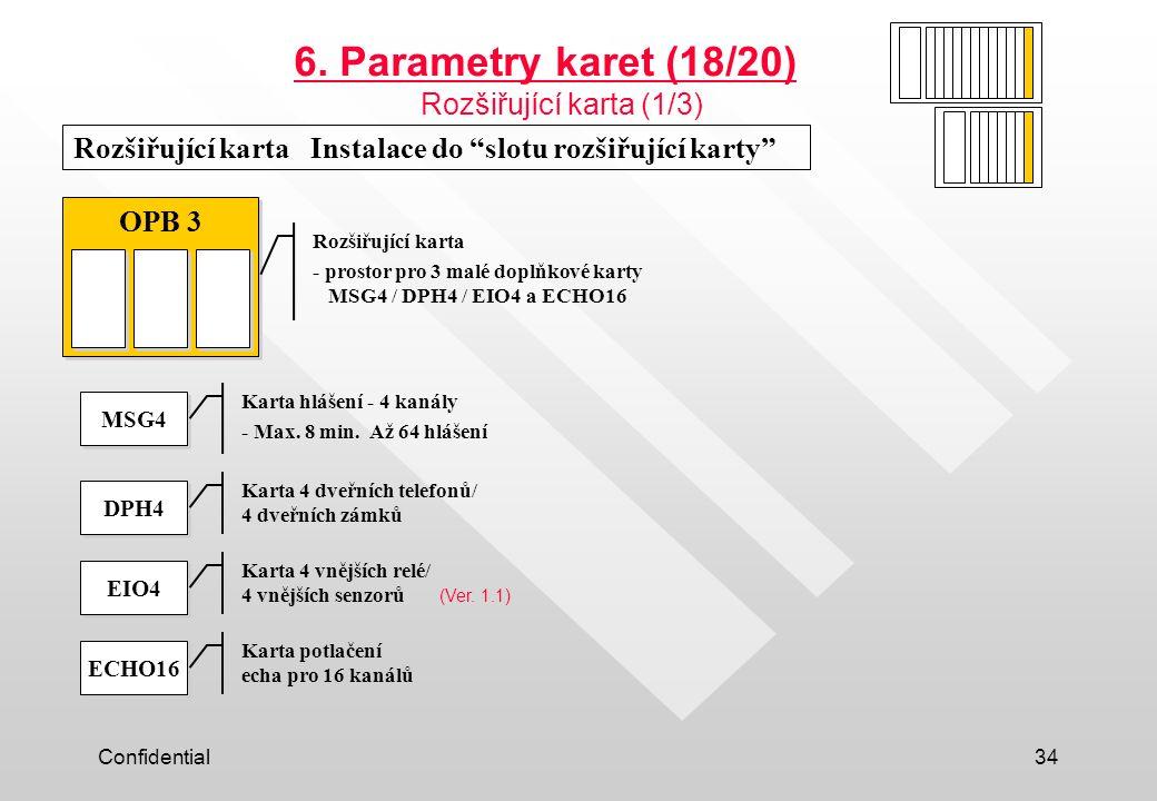 """Confidential34 Rozšiřující karta Instalace do """"slotu rozšiřující karty"""" OPB 3 MSG4 DPH4 EIO4 ECHO16 6. Parametry karet (18/20) Rozšiřující karta (1/3)"""