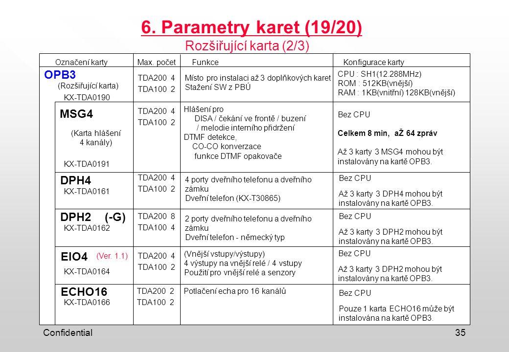 Confidential35 6. Parametry karet (19/20) Označení kartyFunkceKonfigurace karty OPB3 DPH4 EIO4 MSG4 Max. počet TDA200 4 TDA100 2 TDA200 4 TDA100 2 (Ve