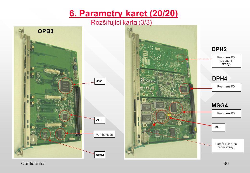 Confidential36 6. Parametry karet (20/20) Extended I/O Extended I/O DSP Flash Memory (back side) Extended I/O (back side) DPH2 DPH4 MSG4 OPB3 Rozšiřuj