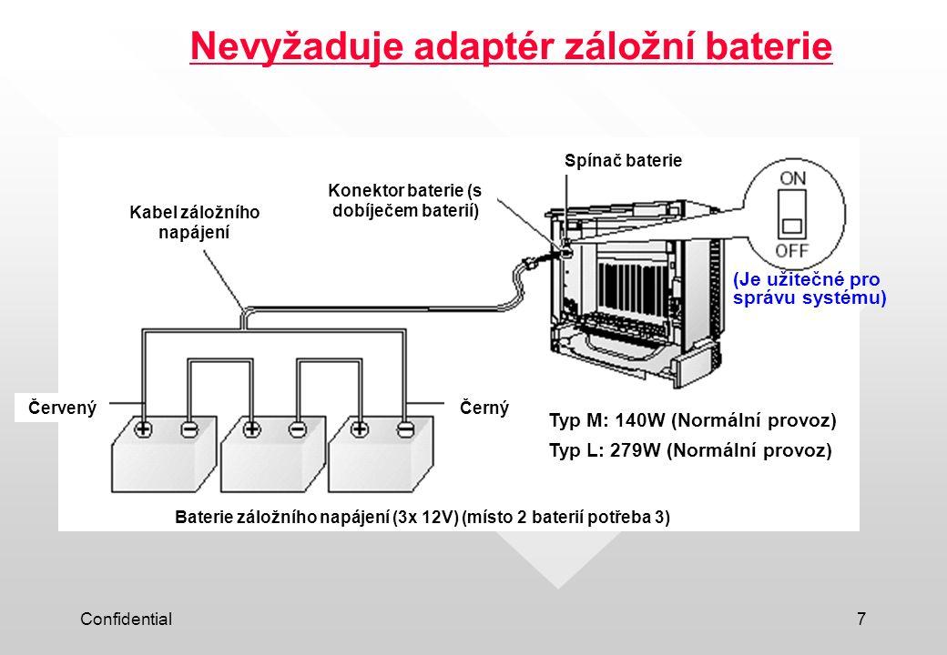 Confidential7 Nevyžaduje adaptér záložní baterie (Je užitečné pro správu systému) (With Battery charger) Typ M: 140W (Normální provoz) Typ L: 279W (No