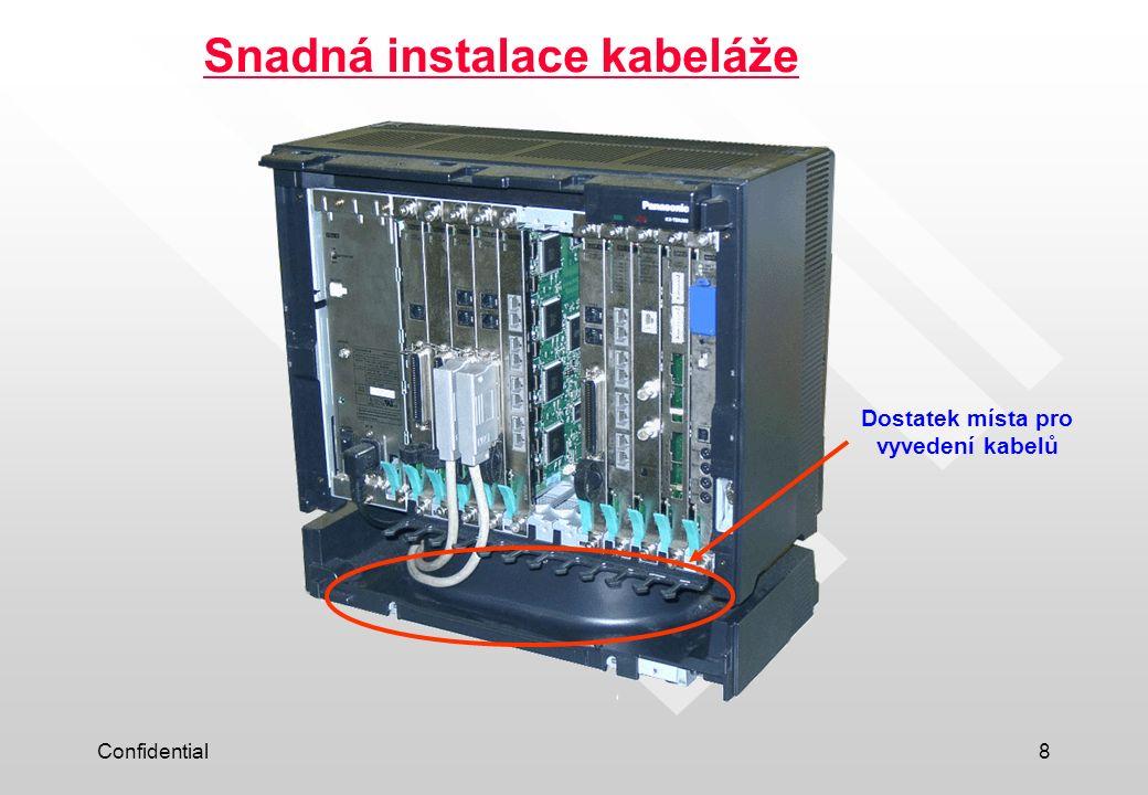 Confidential8 Snadná instalace kabeláže Dostatek místa pro vyvedení kabelů