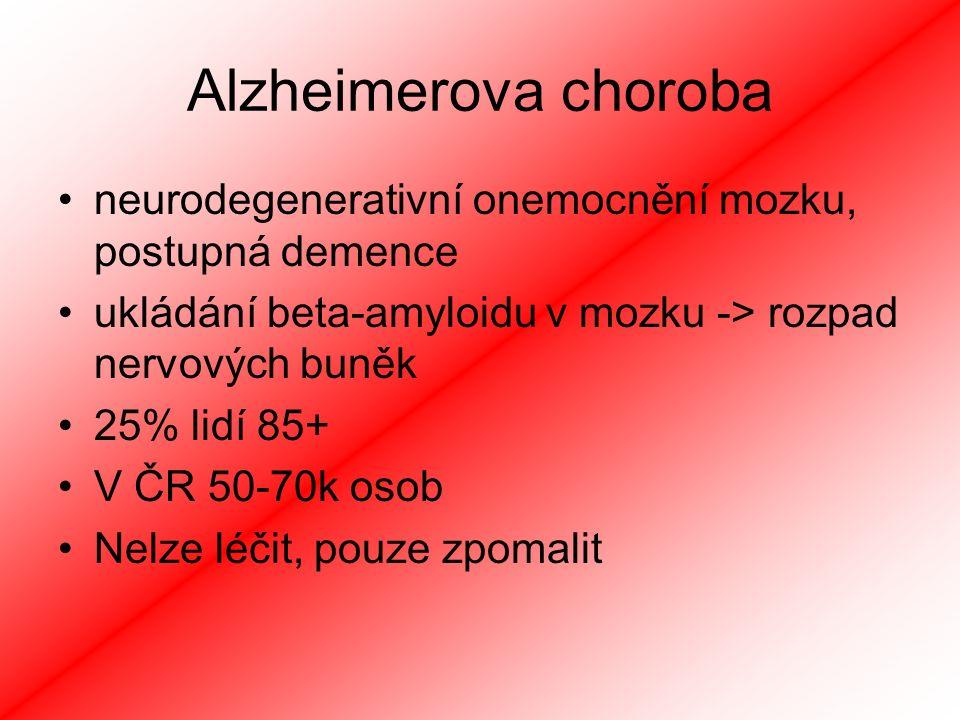 Alzheimerova choroba neurodegenerativní onemocnění mozku, postupná demence ukládání beta-amyloidu v mozku -> rozpad nervových buněk 25% lidí 85+ V ČR 50-70k osob Nelze léčit, pouze zpomalit