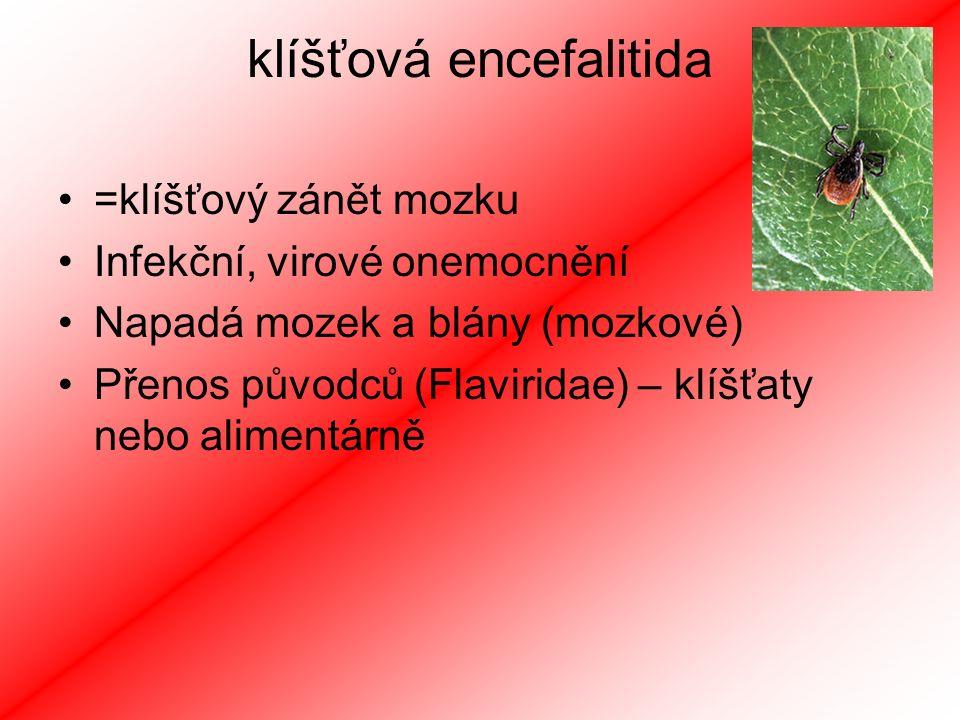 klíšťová encefalitida =klíšťový zánět mozku Infekční, virové onemocnění Napadá mozek a blány (mozkové) Přenos původců (Flaviridae) – klíšťaty nebo alimentárně