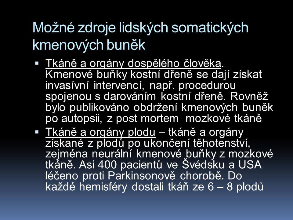 Možné zdroje lidských somatických kmenových buněk  Tkáně a orgány dospělého člověka.