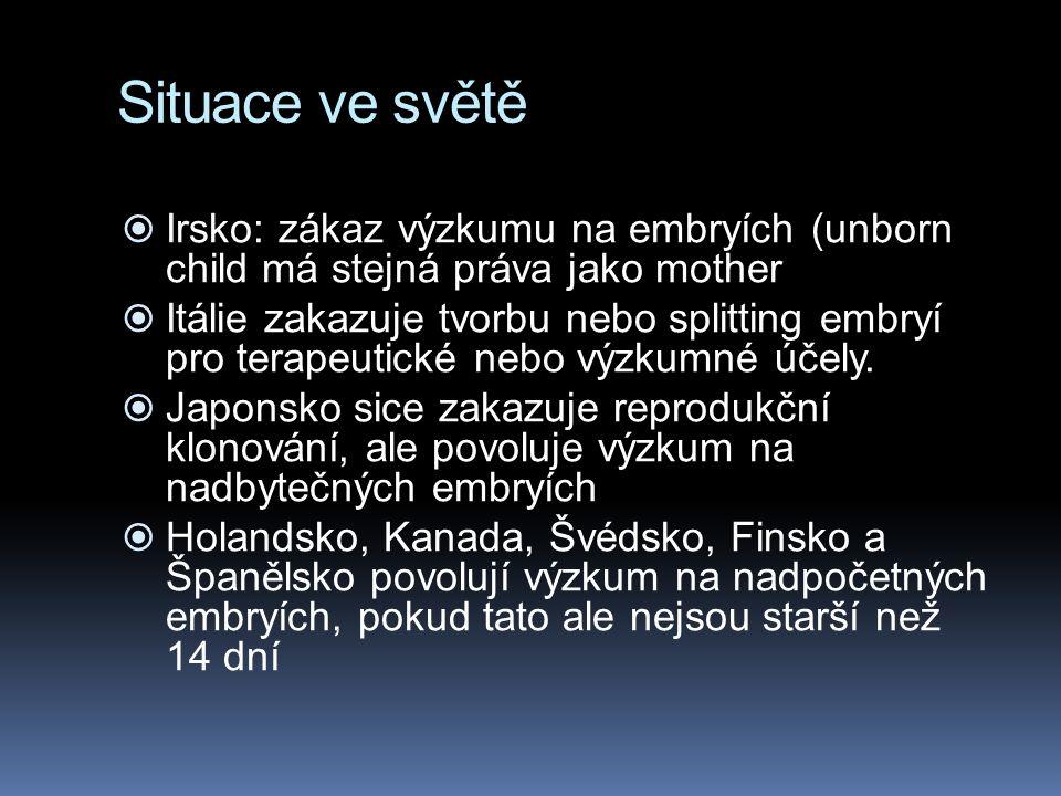 Situace ve světě  Irsko: zákaz výzkumu na embryích (unborn child má stejná práva jako mother  Itálie zakazuje tvorbu nebo splitting embryí pro terapeutické nebo výzkumné účely.