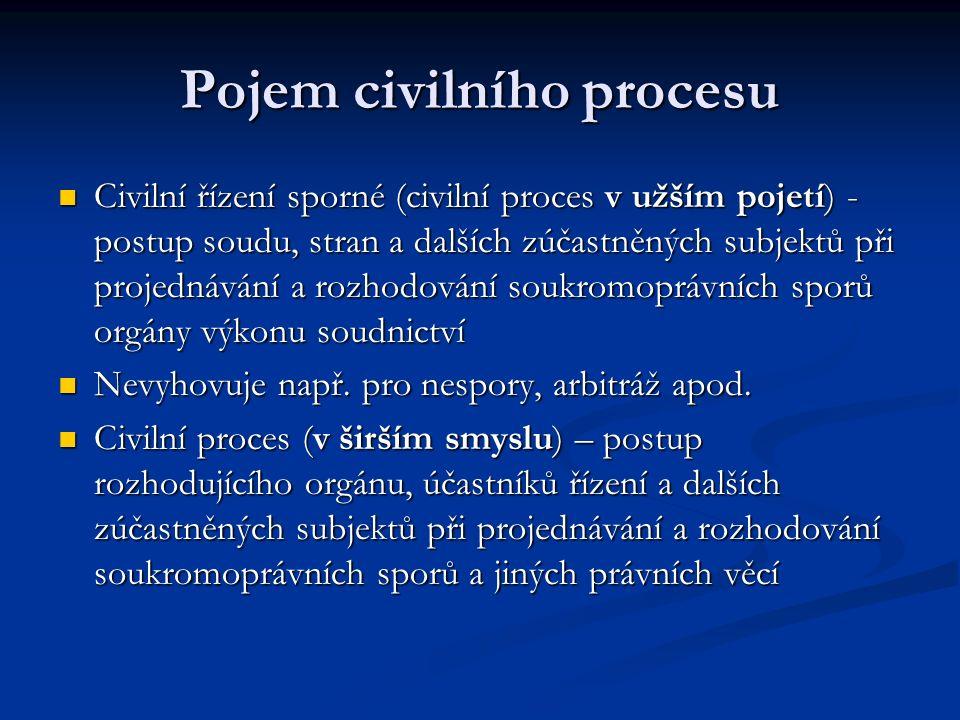 Pojem civilního procesu Civilní řízení sporné (civilní proces v užším pojetí) - postup soudu, stran a dalších zúčastněných subjektů při projednávání a