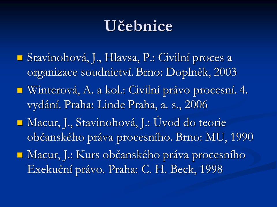 Učebnice Stavinohová, J., Hlavsa, P.: Civilní proces a organizace soudnictví. Brno: Doplněk, 2003 Stavinohová, J., Hlavsa, P.: Civilní proces a organi