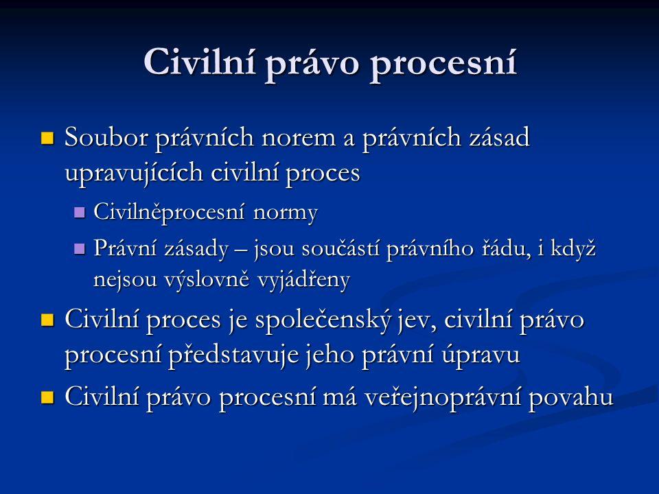 Soubor právních norem a právních zásad upravujících civilní proces Soubor právních norem a právních zásad upravujících civilní proces Civilněprocesní