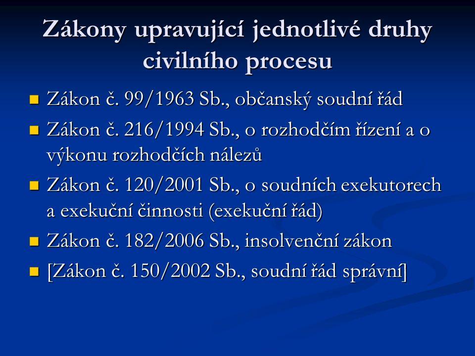 Zákony upravující jednotlivé druhy civilního procesu Zákon č. 99/1963 Sb., občanský soudní řád Zákon č. 99/1963 Sb., občanský soudní řád Zákon č. 216/
