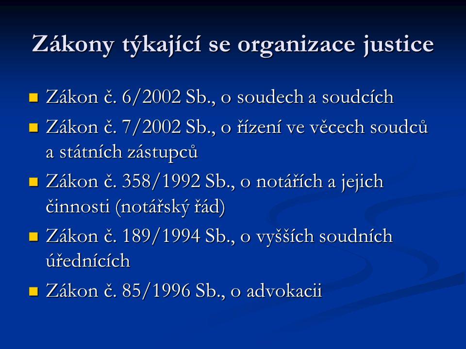 Zákony týkající se organizace justice Zákon č.6/2002 Sb., o soudech a soudcích Zákon č.