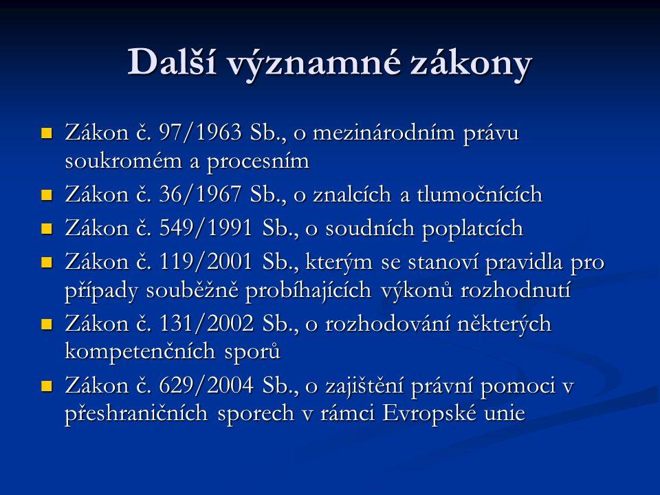 Další významné zákony Zákon č.97/1963 Sb., o mezinárodním právu soukromém a procesním Zákon č.