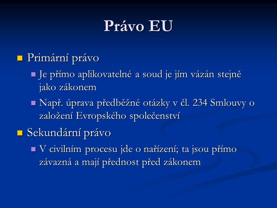 Právo EU Primární právo Primární právo Je přímo aplikovatelné a soud je jím vázán stejně jako zákonem Je přímo aplikovatelné a soud je jím vázán stejně jako zákonem Např.