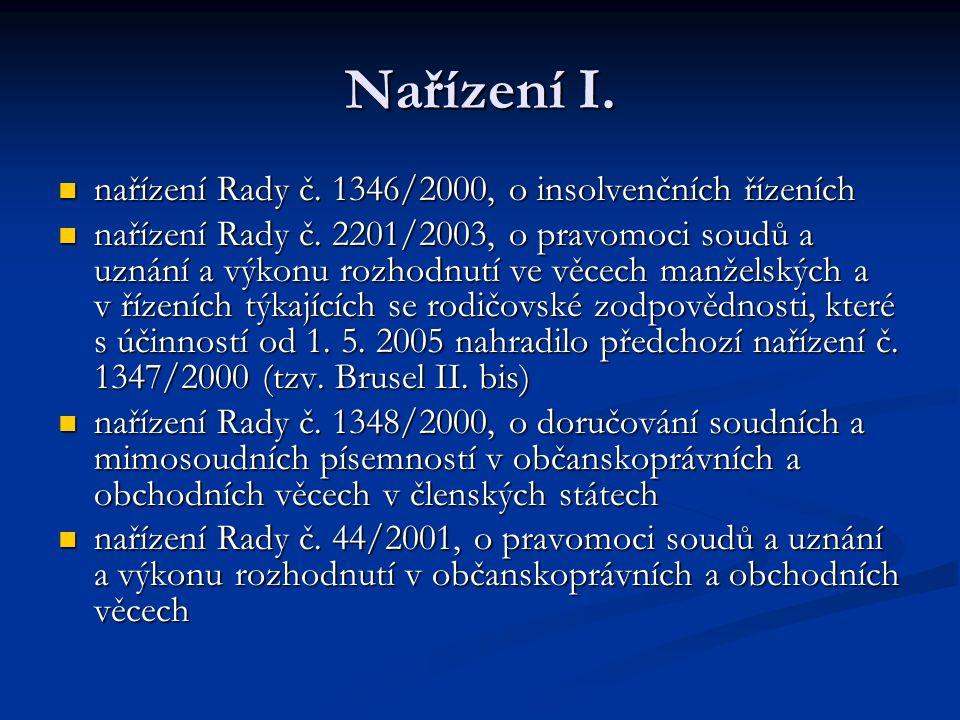 Nařízení I. nařízení Rady č. 1346/2000, o insolvenčních řízeních nařízení Rady č. 1346/2000, o insolvenčních řízeních nařízení Rady č. 2201/2003, o pr