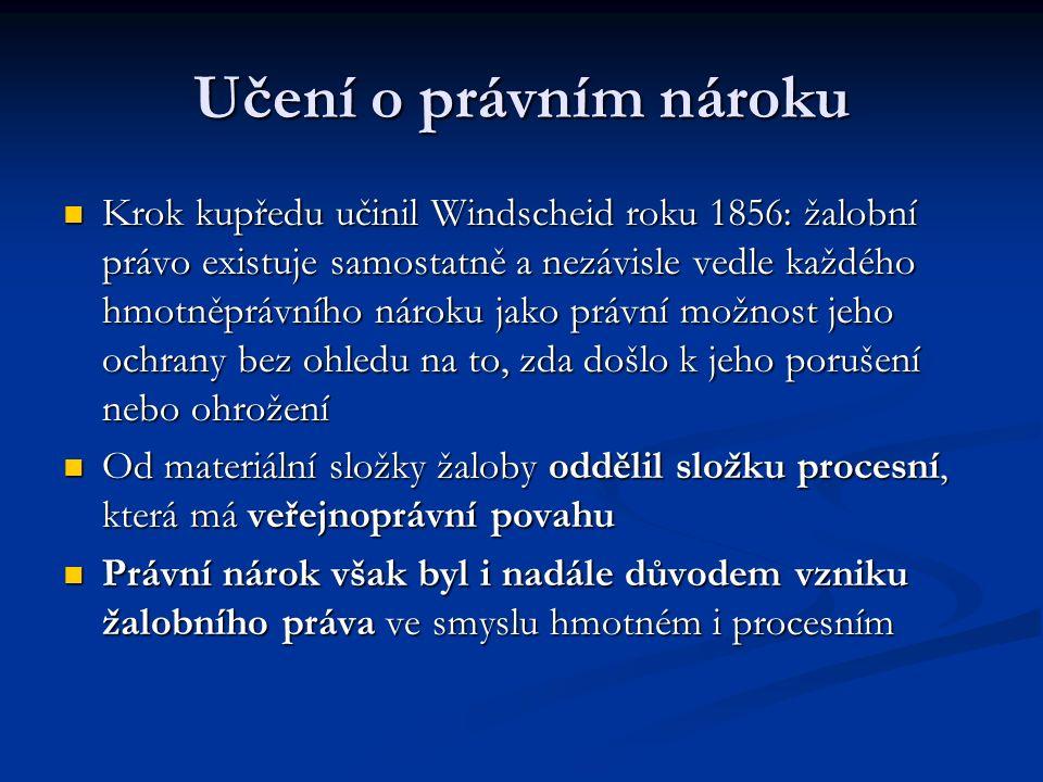 Učení o právním nároku Krok kupředu učinil Windscheid roku 1856: žalobní právo existuje samostatně a nezávisle vedle každého hmotněprávního nároku jak