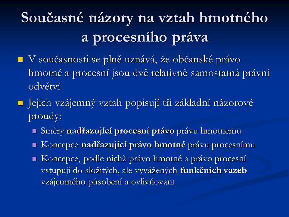 Současné názory na vztah hmotného a procesního práva V současnosti se plně uznává, že občanské právo hmotné a procesní jsou dvě relativně samostatná p