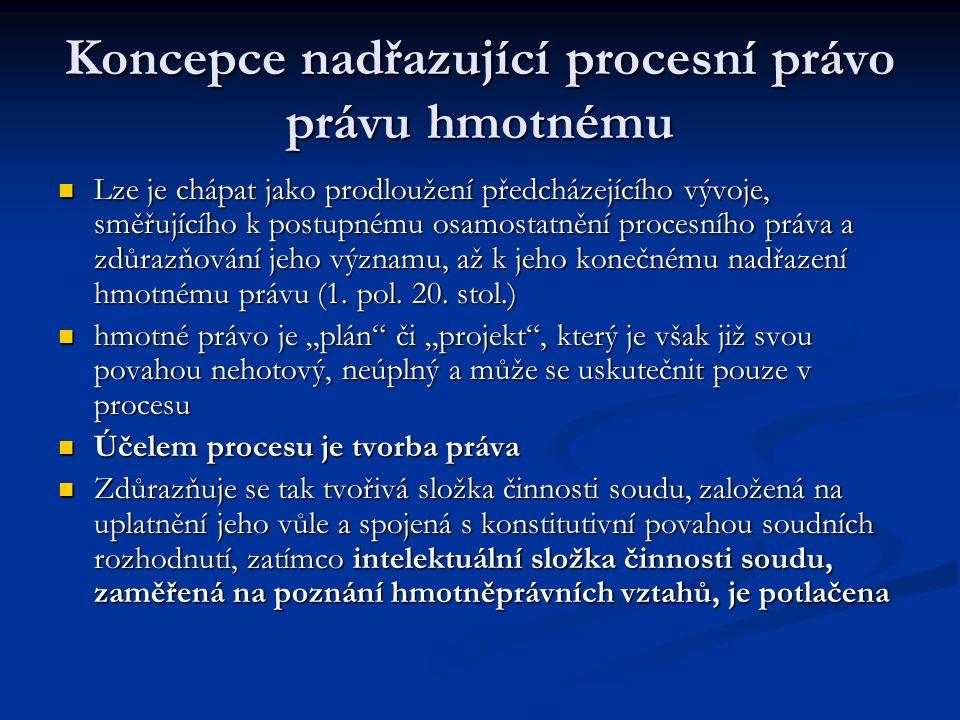 Koncepce nadřazující procesní právo právu hmotnému Lze je chápat jako prodloužení předcházejícího vývoje, směřujícího k postupnému osamostatnění procesního práva a zdůrazňování jeho významu, až k jeho konečnému nadřazení hmotnému právu (1.
