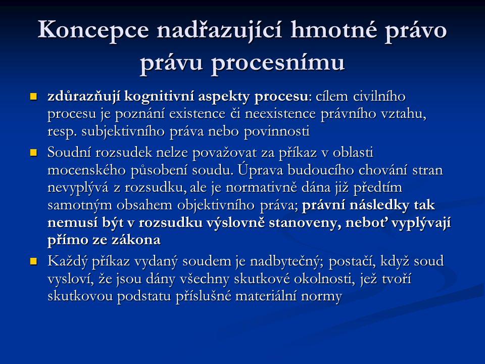 Koncepce nadřazující hmotné právo právu procesnímu zdůrazňují kognitivní aspekty procesu: cílem civilního procesu je poznání existence či neexistence