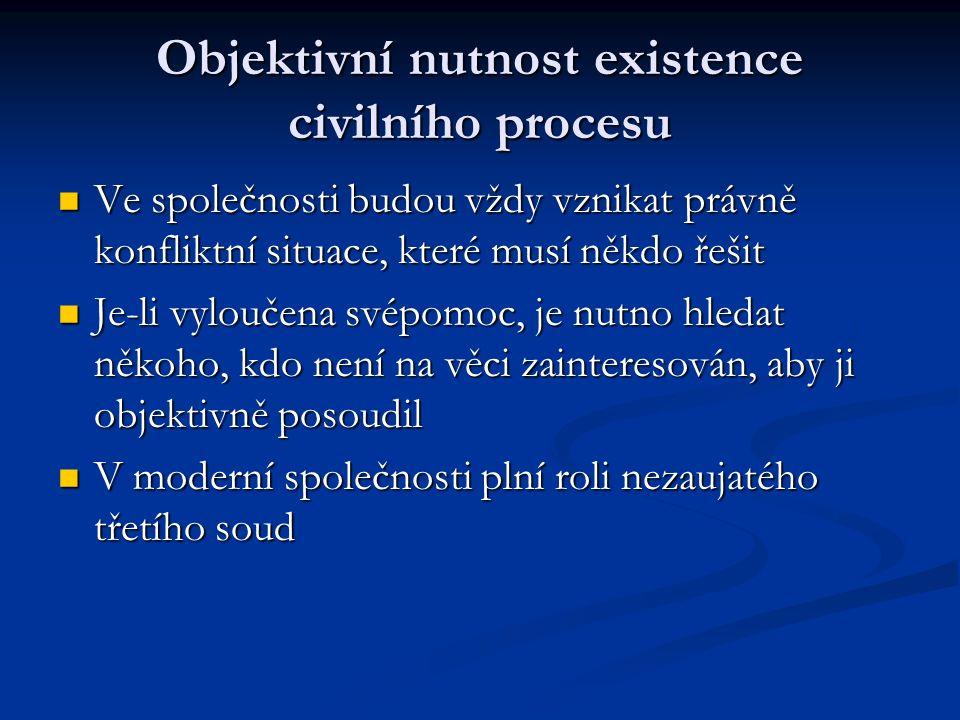 Objektivní nutnost existence civilního procesu Ve společnosti budou vždy vznikat právně konfliktní situace, které musí někdo řešit Ve společnosti budo