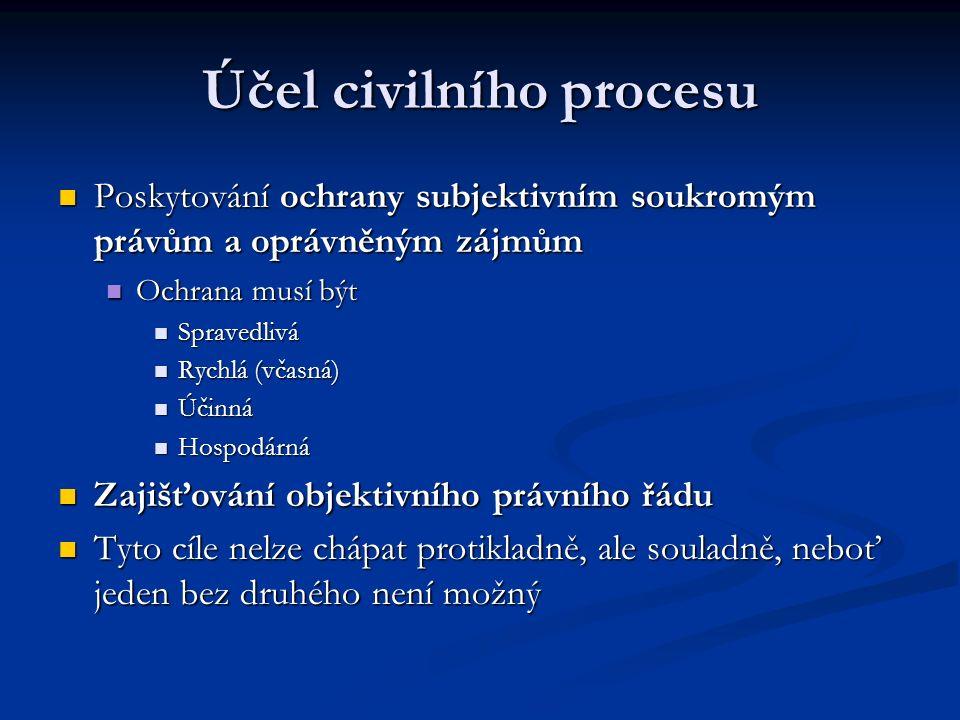 Účel civilního procesu Poskytování ochrany subjektivním soukromým právům a oprávněným zájmům Poskytování ochrany subjektivním soukromým právům a oprávněným zájmům Ochrana musí být Ochrana musí být Spravedlivá Spravedlivá Rychlá (včasná) Rychlá (včasná) Účinná Účinná Hospodárná Hospodárná Zajišťování objektivního právního řádu Zajišťování objektivního právního řádu Tyto cíle nelze chápat protikladně, ale souladně, neboť jeden bez druhého není možný Tyto cíle nelze chápat protikladně, ale souladně, neboť jeden bez druhého není možný
