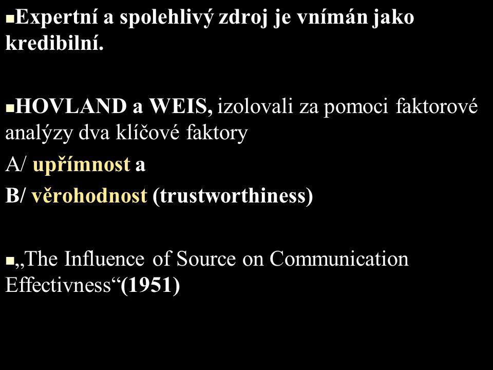 FAKTORY KREDIBILITY (WHITEHEAD, 1968) 65 sémanticky diferentních pojmů.
