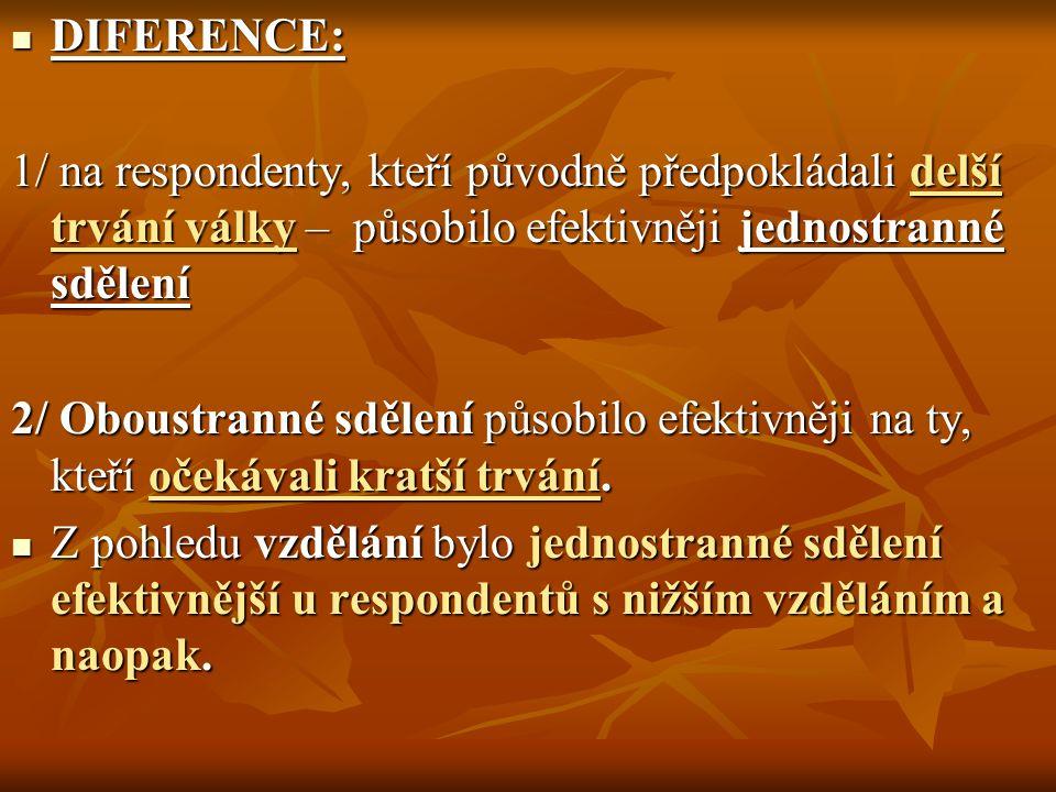 ZÁVĚR Persvazivní efektivita sdělení závisí na individuálních psychologických charakteristikách.