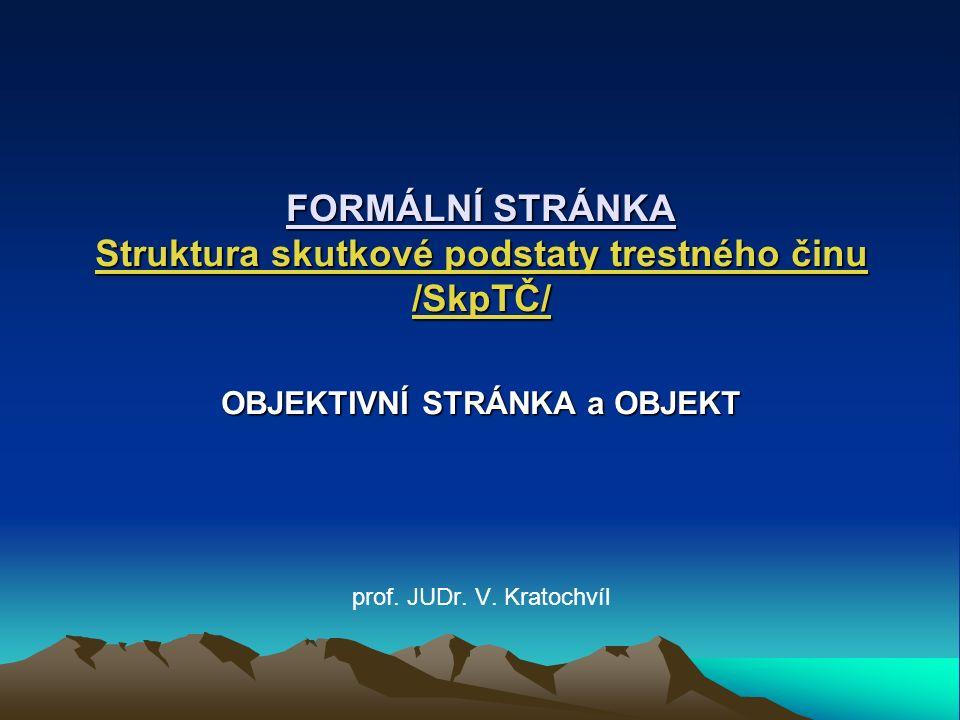 Objektivní stránka (prvek TČ) (OSTČ)pojem: vnější podoba, pohled na TČ...
