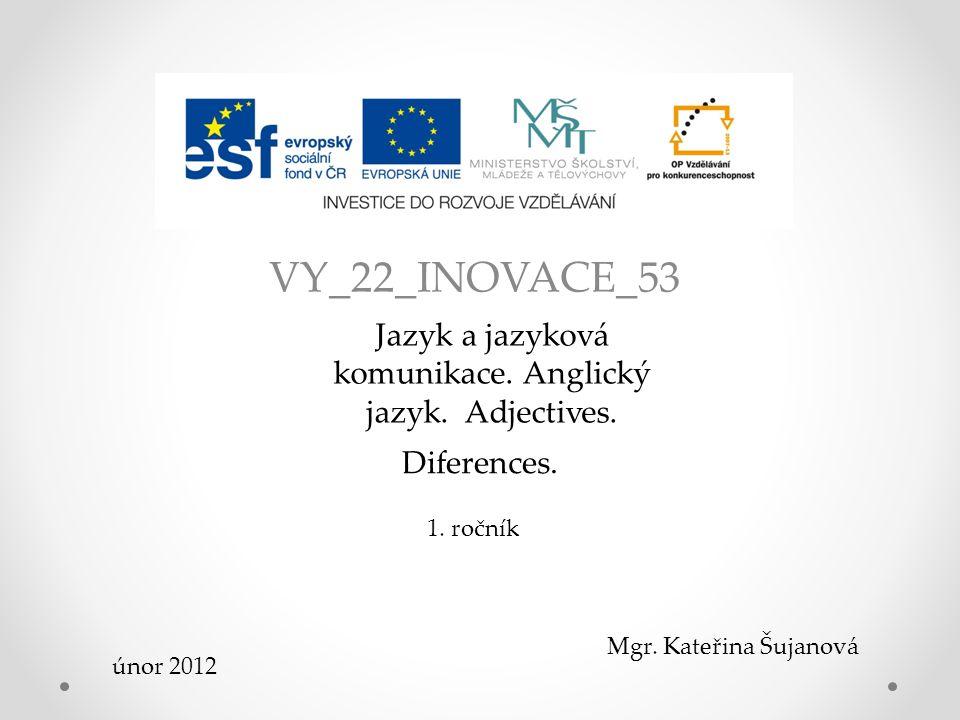 VY_22_INOVACE_53 Jazyk a jazyková komunikace.Anglický jazyk.