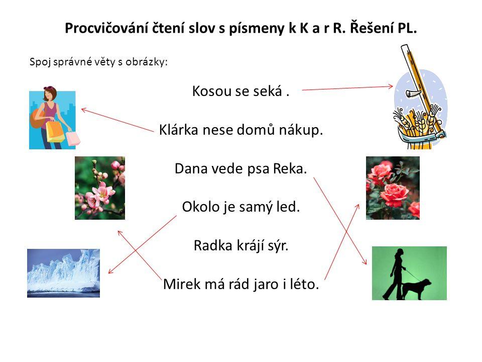 Procvičování čtení slov s písmeny k K a r R. Řešení PL.