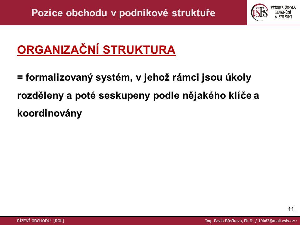 11. ŘÍZENÍ OBCHODU [ROb] Ing. Pavla Břečková, Ph.D. / 19063@mail.vsfs.cz:: Pozice obchodu v podnikové struktuře ORGANIZAČNÍ STRUKTURA = formalizovaný