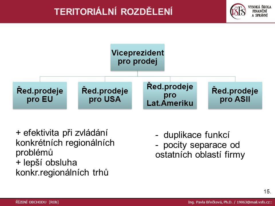 15. ŘÍZENÍ OBCHODU [ROb] Ing. Pavla Břečková, Ph.D. / 19063@mail.vsfs.cz:: TERITORIÁLNÍ ROZDĚLENÍ + efektivita při zvládání konkrétních regionálních p