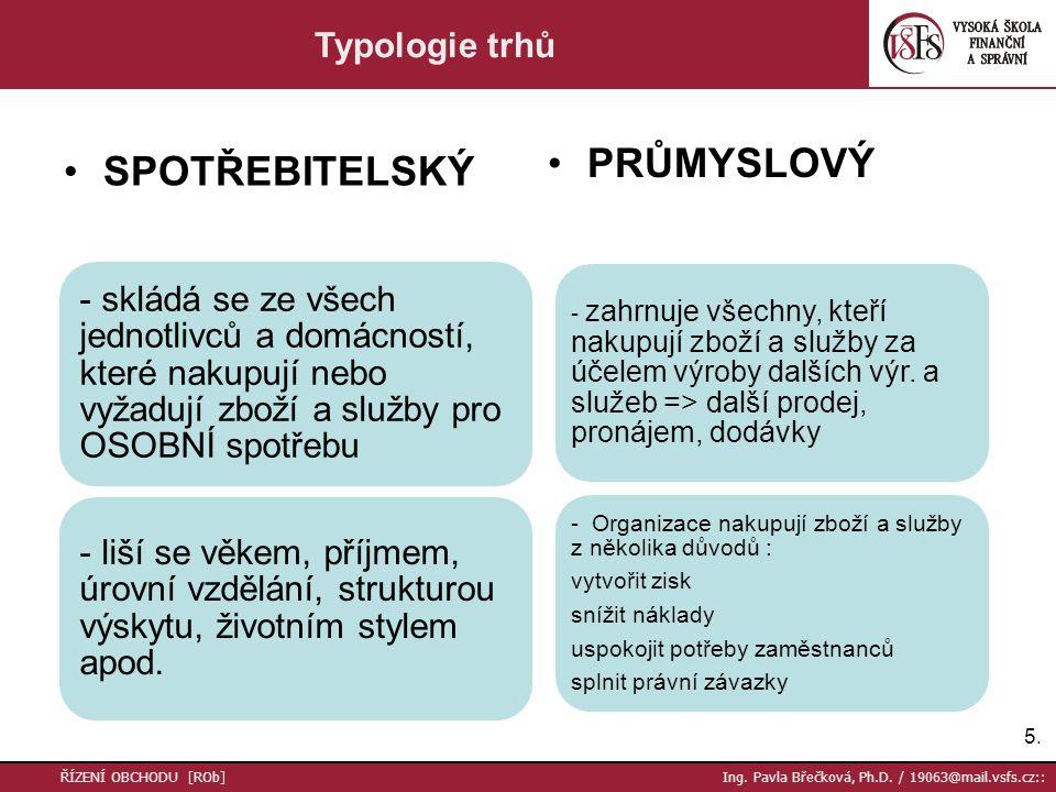 SPOTŘEBITELSKÝ PRŮMYSLOVÝ 5.5. ŘÍZENÍ OBCHODU [ROb] Ing. Pavla Břečková, Ph.D. / 19063@mail.vsfs.cz:: Typologie trhů - skládá se ze všech jednotlivců