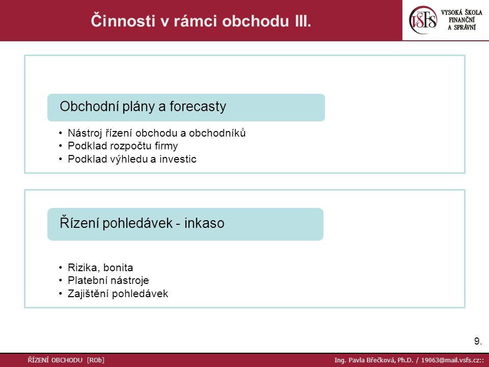 10.ŘÍZENÍ OBCHODU [ROb] Ing. Pavla Břečková, Ph.D.