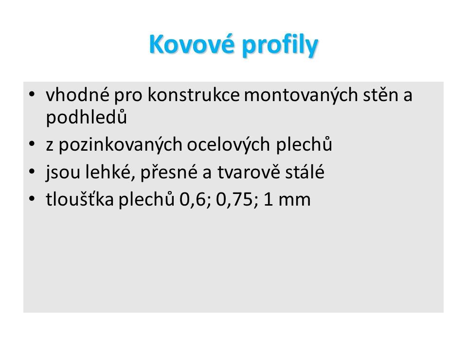 Kovové profily pro stěny rozměry –h/b 50/50 75/50 100/50