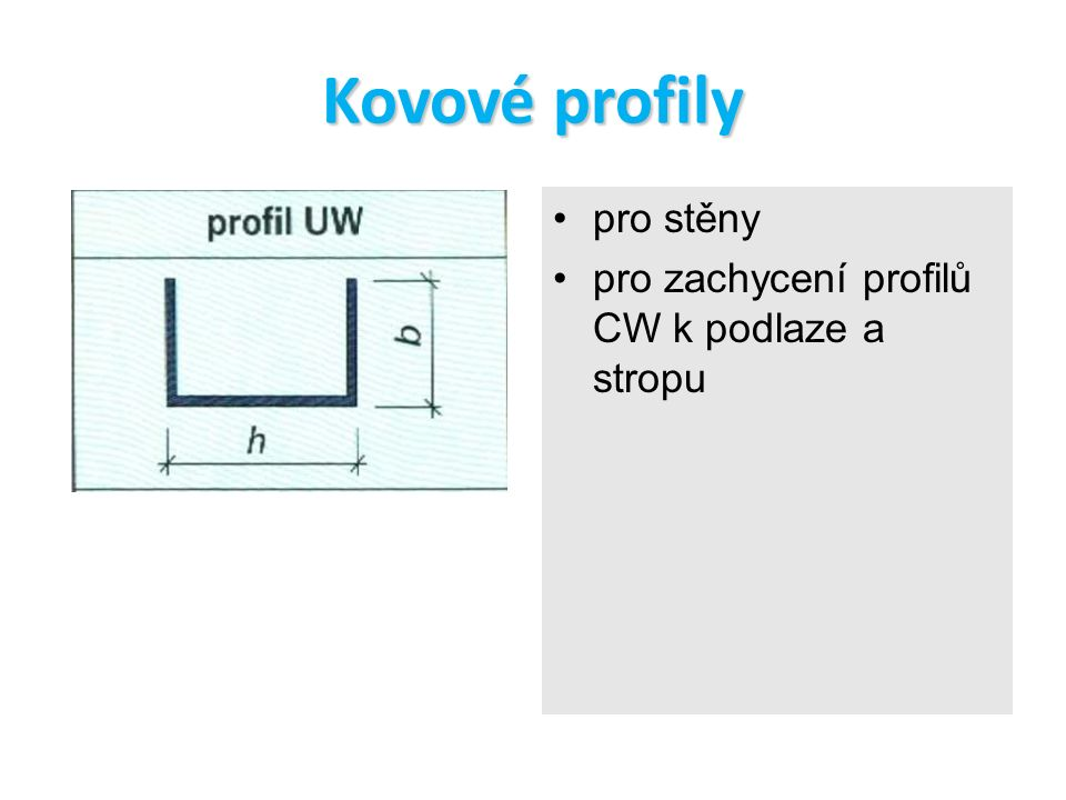 Kovové profily pro stěny pro zachycení profilů CW k podlaze a stropu