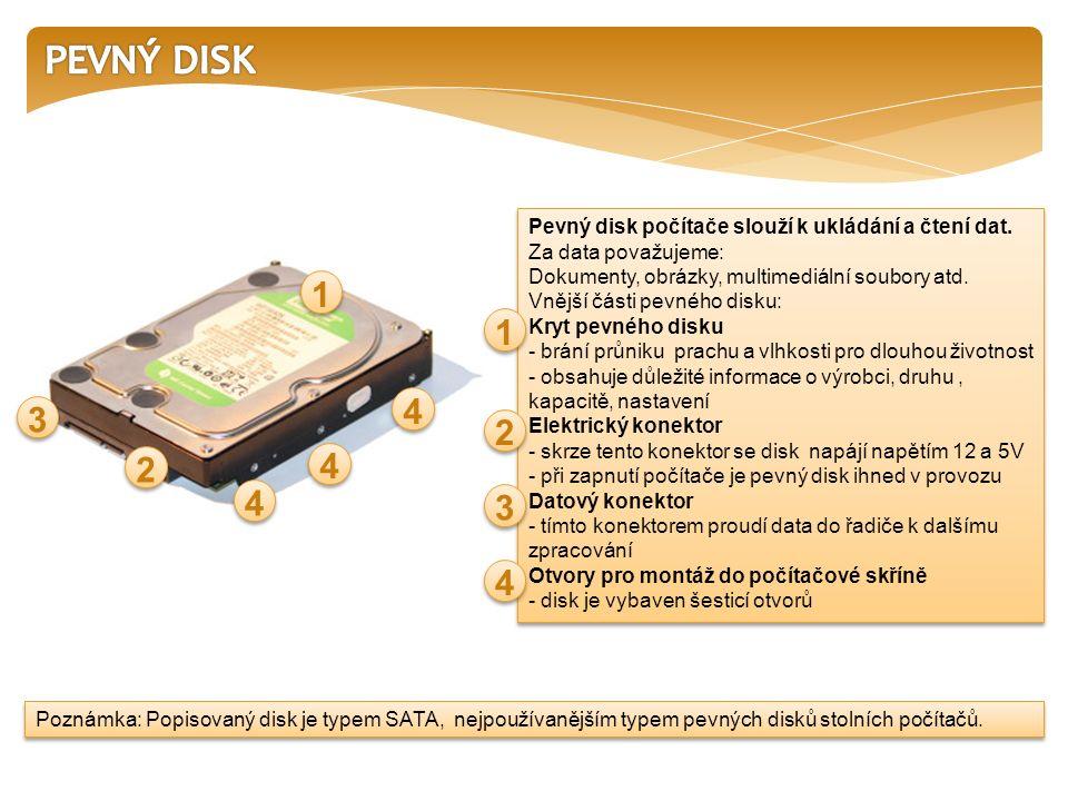 Pevný disk počítače slouží k ukládání a čtení dat.