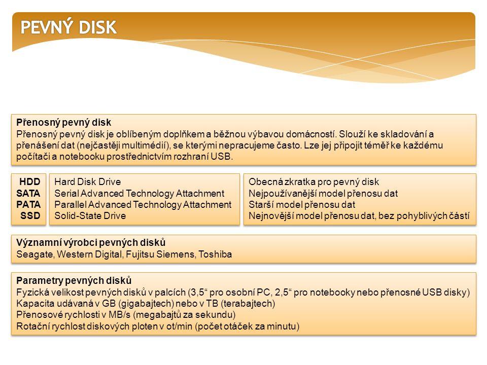 Přenosný pevný disk Přenosný pevný disk je oblíbeným doplňkem a běžnou výbavou domácností.