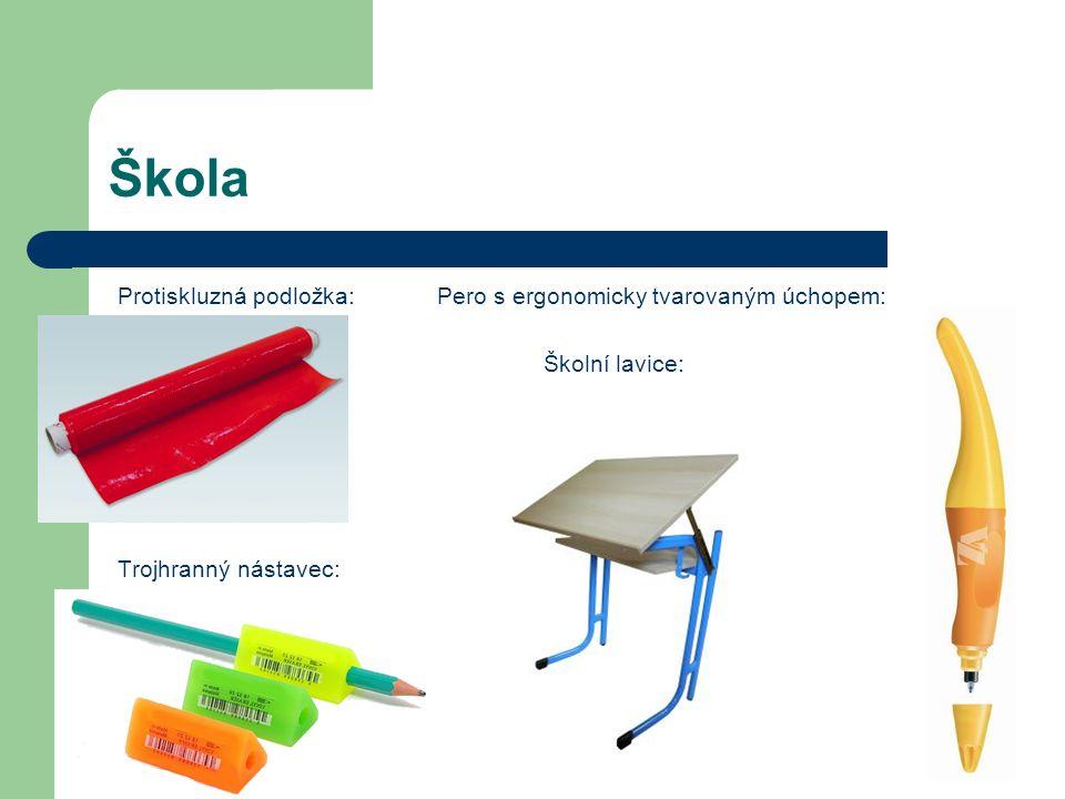 Škola Protiskluzná podložka:Pero s ergonomicky tvarovaným úchopem: Školní lavice: Trojhranný nástavec: