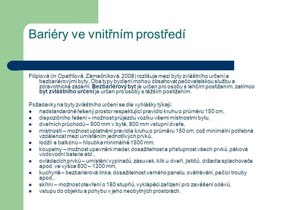 Bariéry ve vnitřním prostředí Filipiová (in Opatřilová, Zámečníková, 2008) rozlišuje mezi byty zvláštního určení a bezbariérovými byty. Oba typy bydle