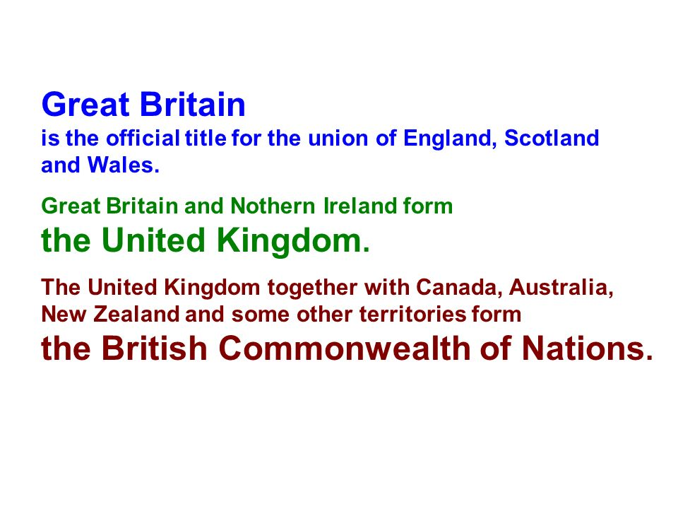 Great Britain is the official title for the union of England, Scotland and Wales. Great Britain and Nothern Ireland form the United Kingdom. The Unite