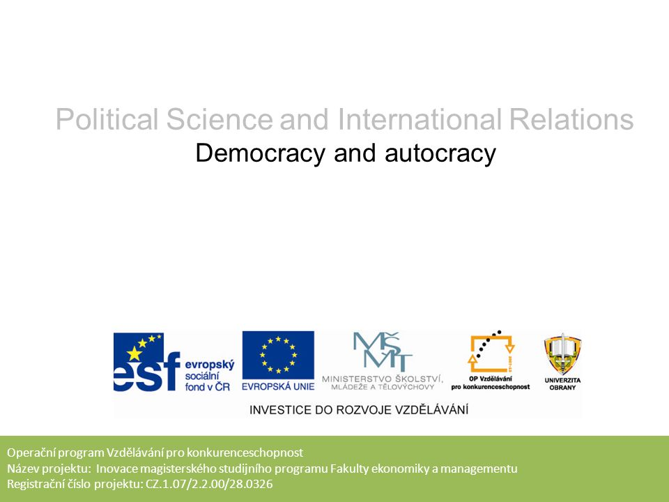 Goal of lecture To introduce basic concepts of democracy To define and characterize totalitarian and authoritarian regimes To introduce students to philosophical debate about proper political system