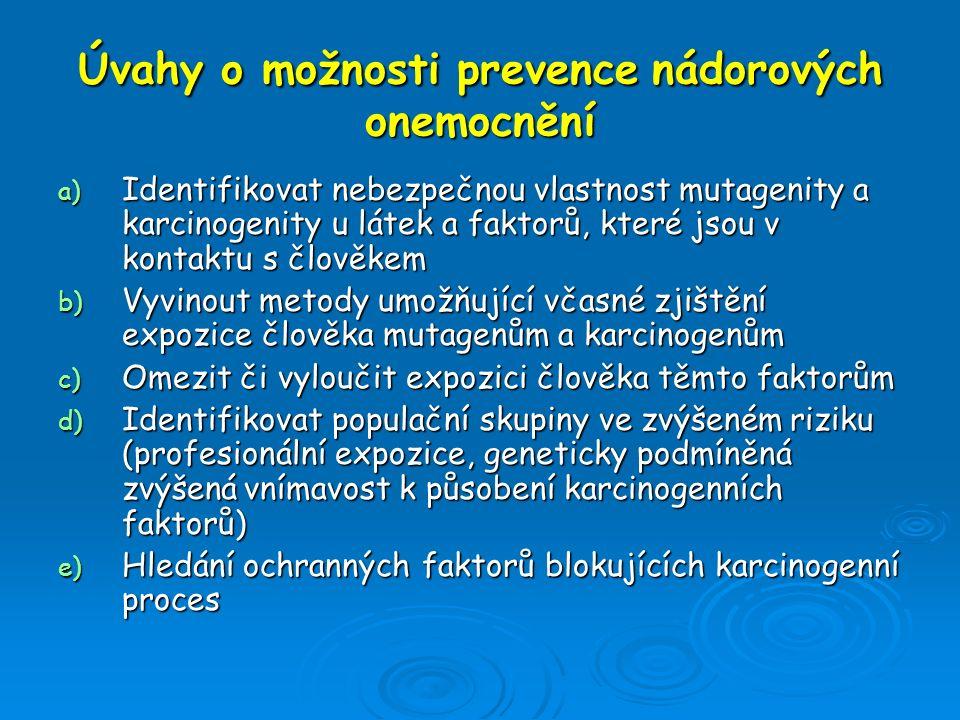 Úvahy o možnosti prevence nádorových onemocnění a) Identifikovat nebezpečnou vlastnost mutagenity a karcinogenity u látek a faktorů, které jsou v kont