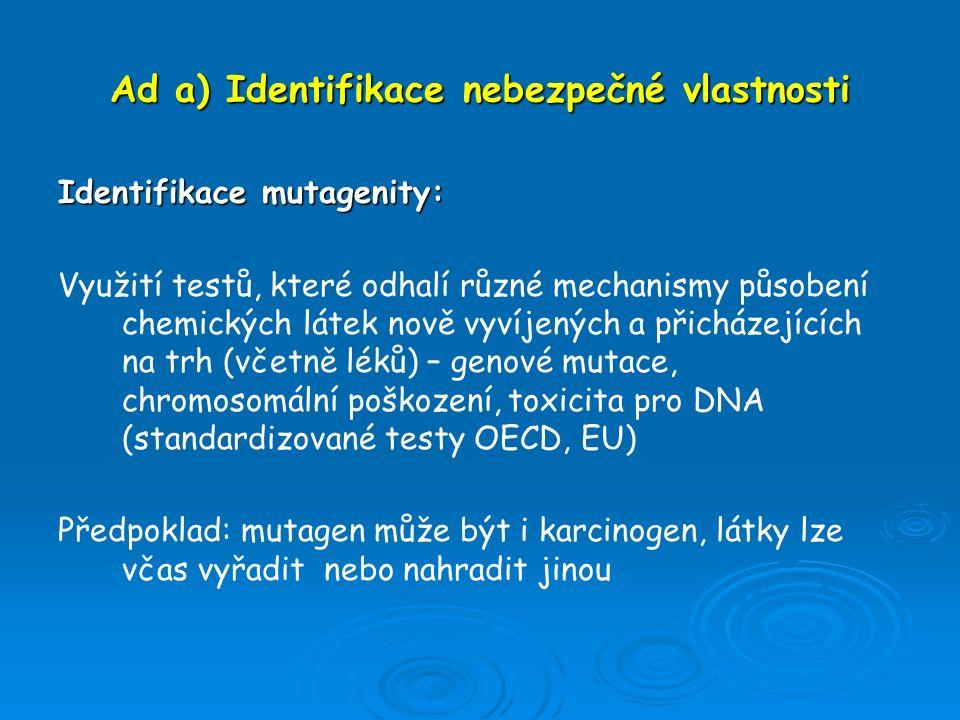 Ad a) Identifikace nebezpečné vlastnosti Identifikace mutagenity: Využití testů, které odhalí různé mechanismy působení chemických látek nově vyvíjený