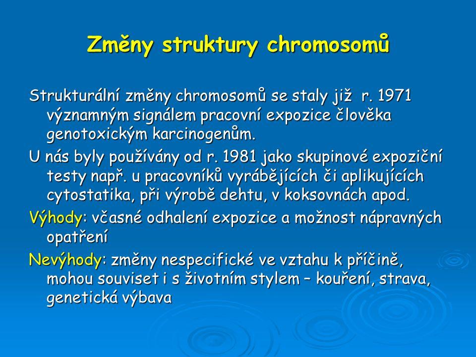 Změny struktury chromosomů Strukturální změny chromosomů se staly již r. 1971 významným signálem pracovní expozice člověka genotoxickým karcinogenům.