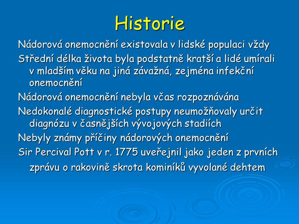 Historie Nádorová onemocnění existovala v lidské populaci vždy Střední délka života byla podstatně kratší a lidé umírali v mladším věku na jiná závažn