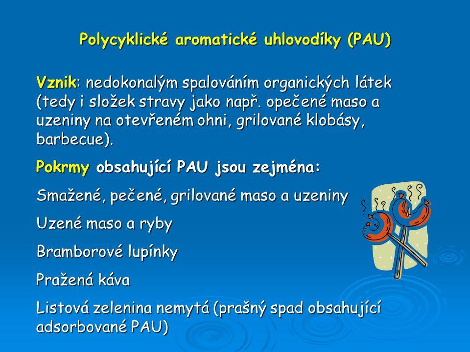 Polycyklické aromatické uhlovodíky (PAU) Vznik: nedokonalým spalováním organických látek (tedy i složek stravy jako např. opečené maso a uzeniny na ot